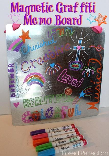 Magnetic, metallic paint marker graffiti note board