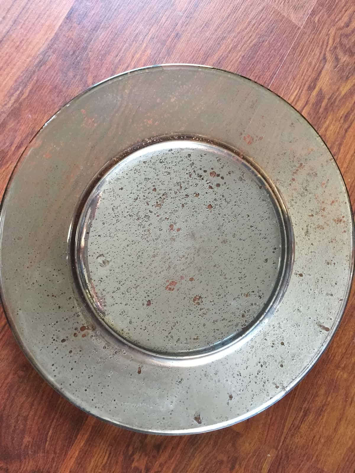 Mercury glass gold rimmed plates