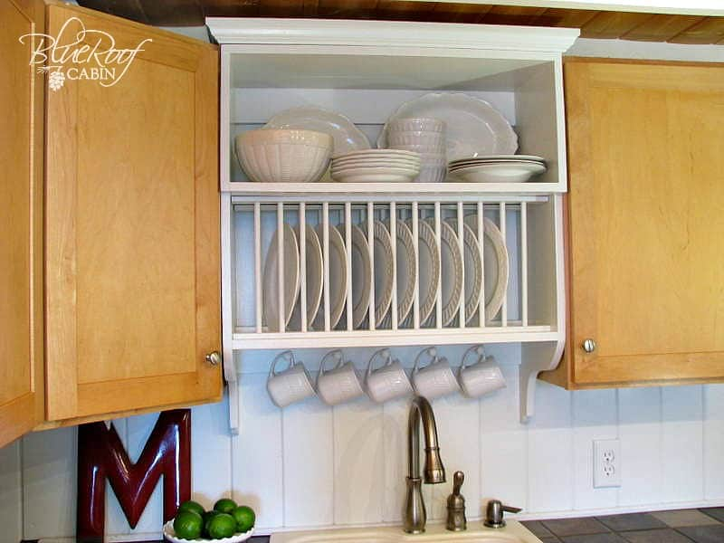 diy plate rack the best way to stack your plates rh wonderfuldiy com Cabinets with Shelf On Top Utensils with Rack Cabinet