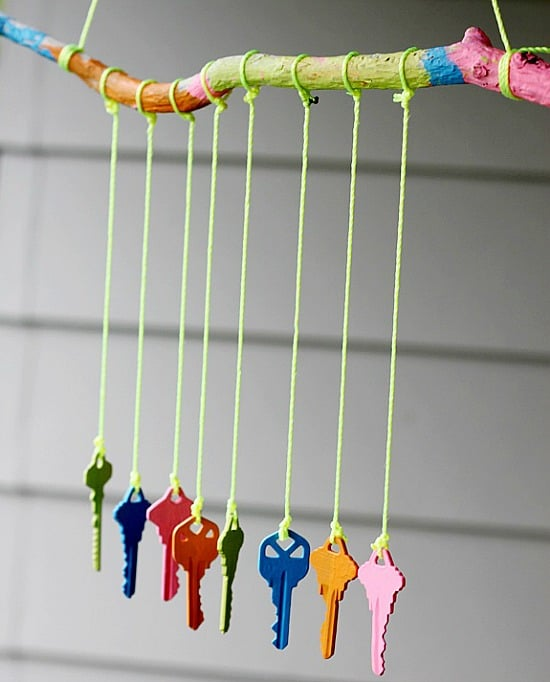 Painted branch and key wind chimes