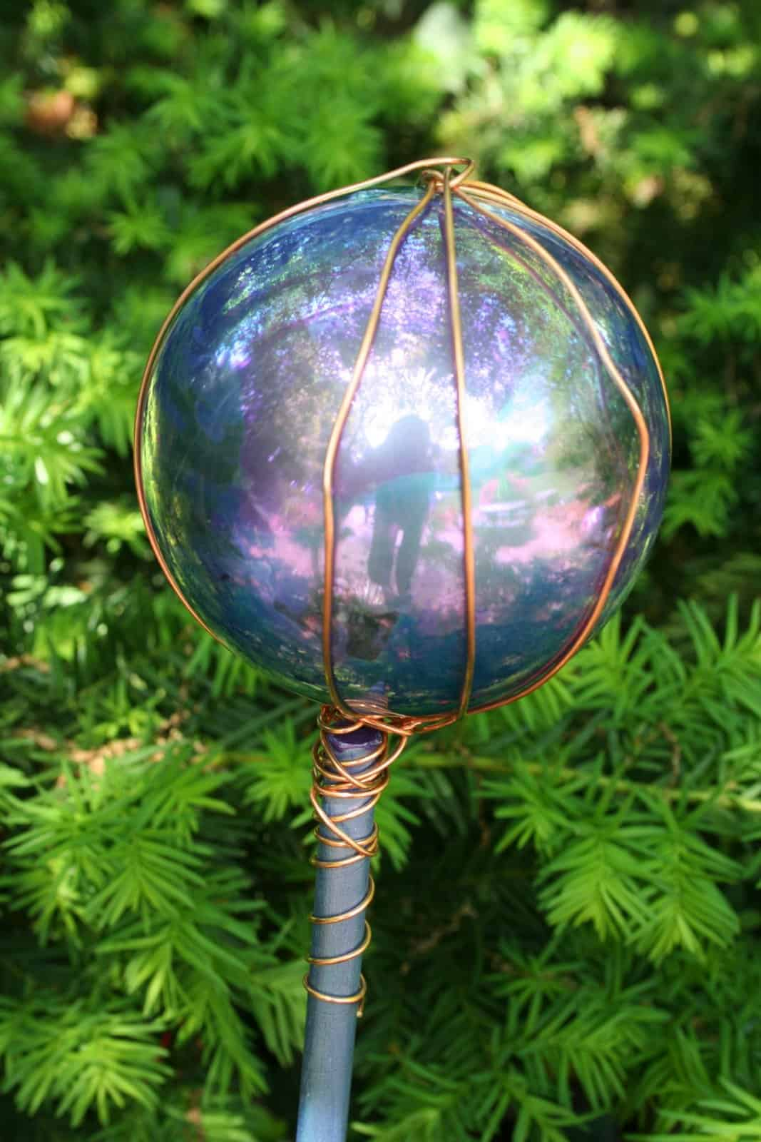 Painted marbled and wire wrapped gazing balls