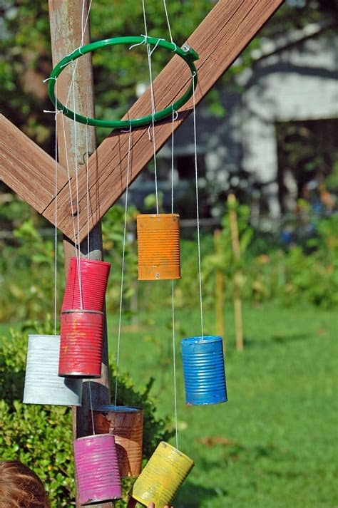 Painted tin can and embroidery hoop chimes