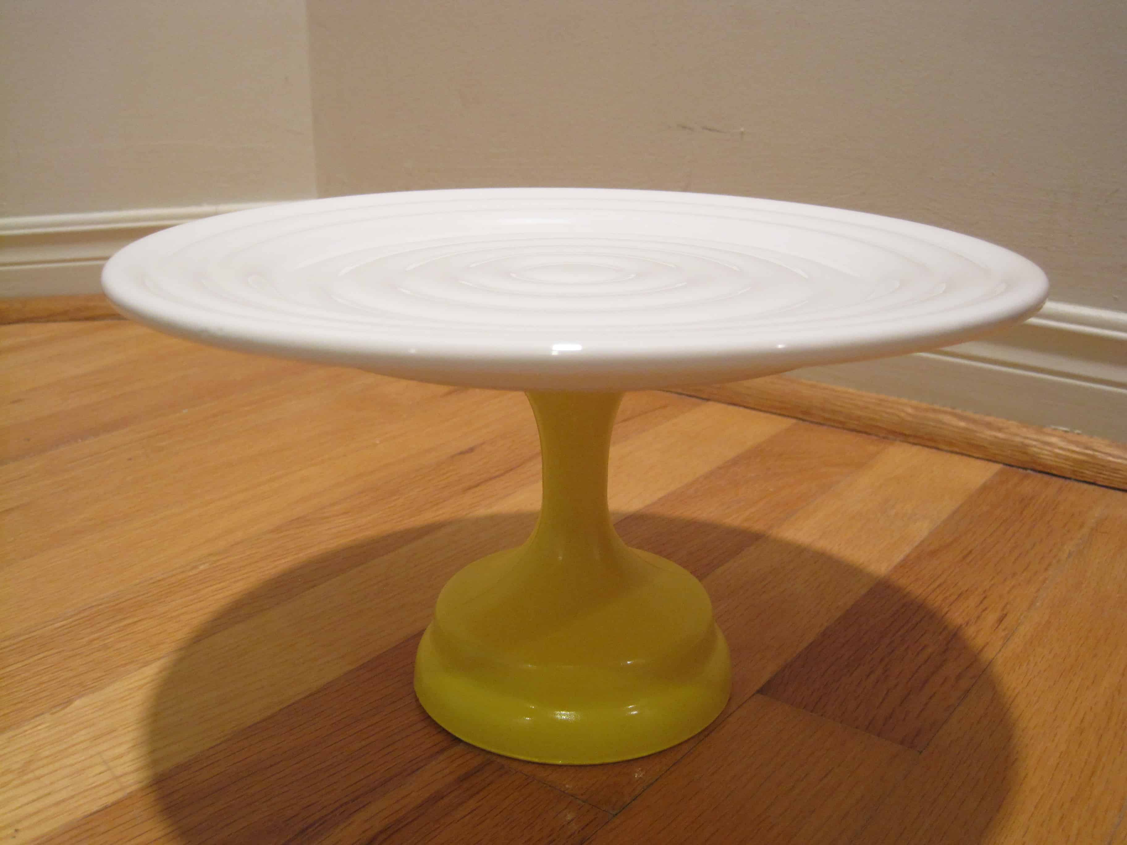 Painted wine glass and paint cupcake stand