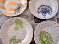 Patterns and stencilled leaves 200x150 Customize with Color and Pattern: 15 Painted Dish Designs