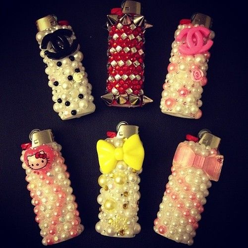 Pearl and bead embellished lighters