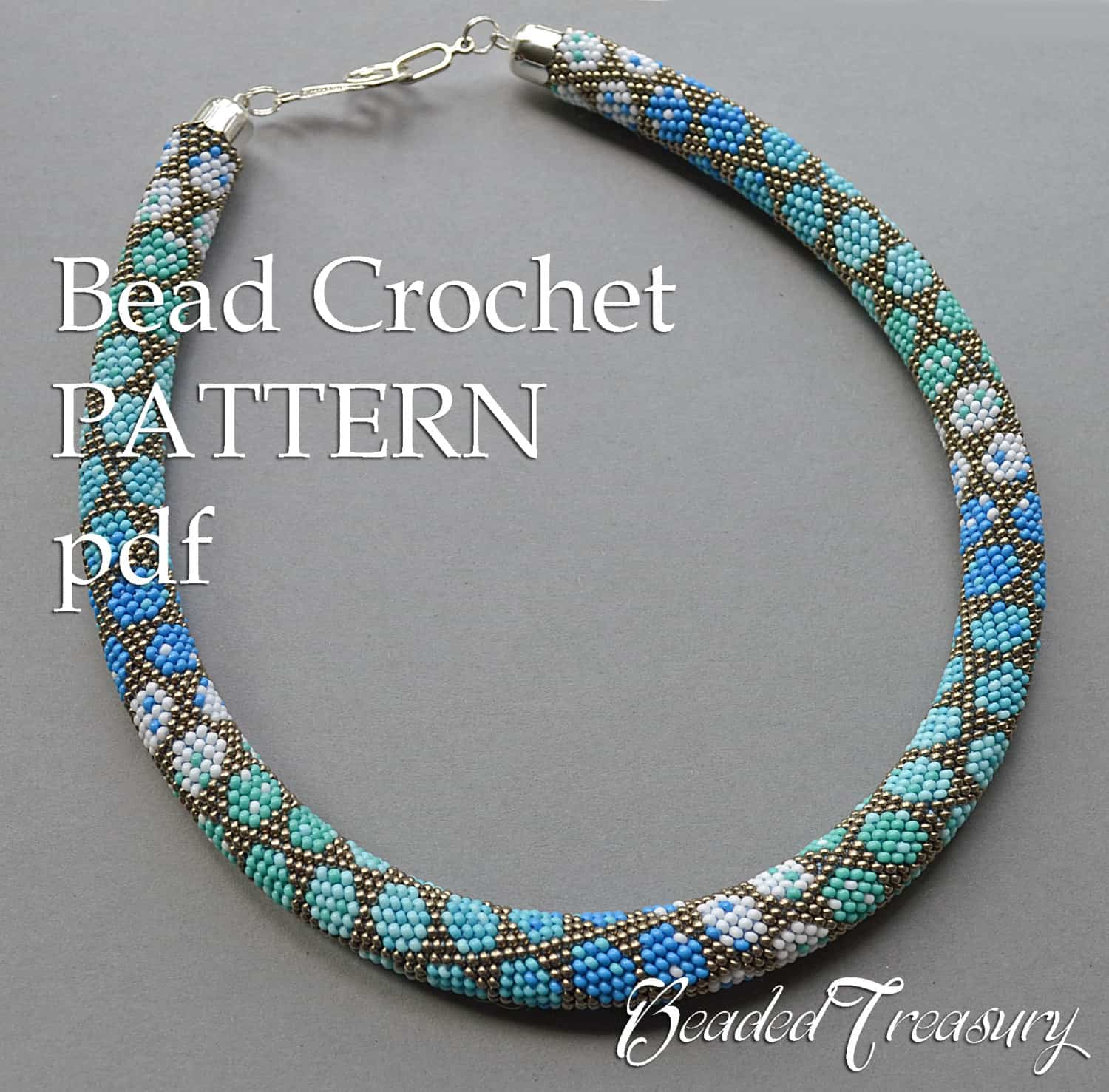 Polka dot beaded crochet necklace