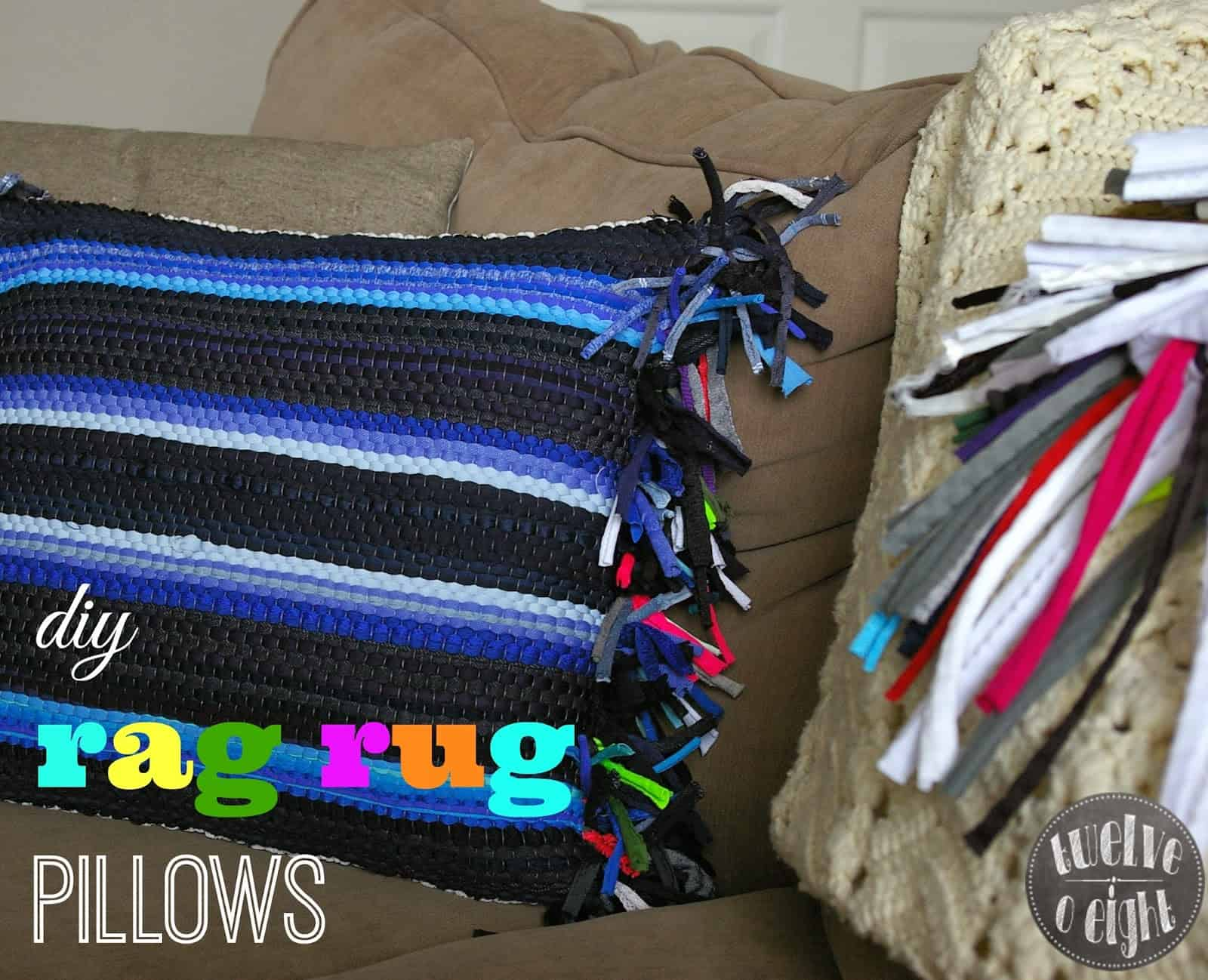 Rag rug pillows with fringed sides