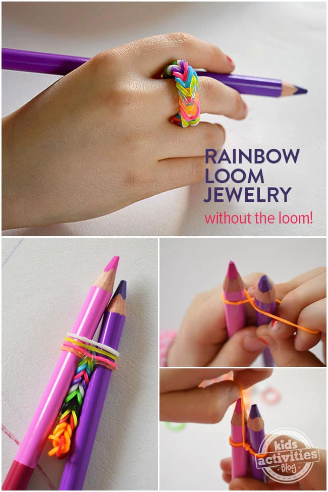 Rainbow Loom ring made on pencil crayons