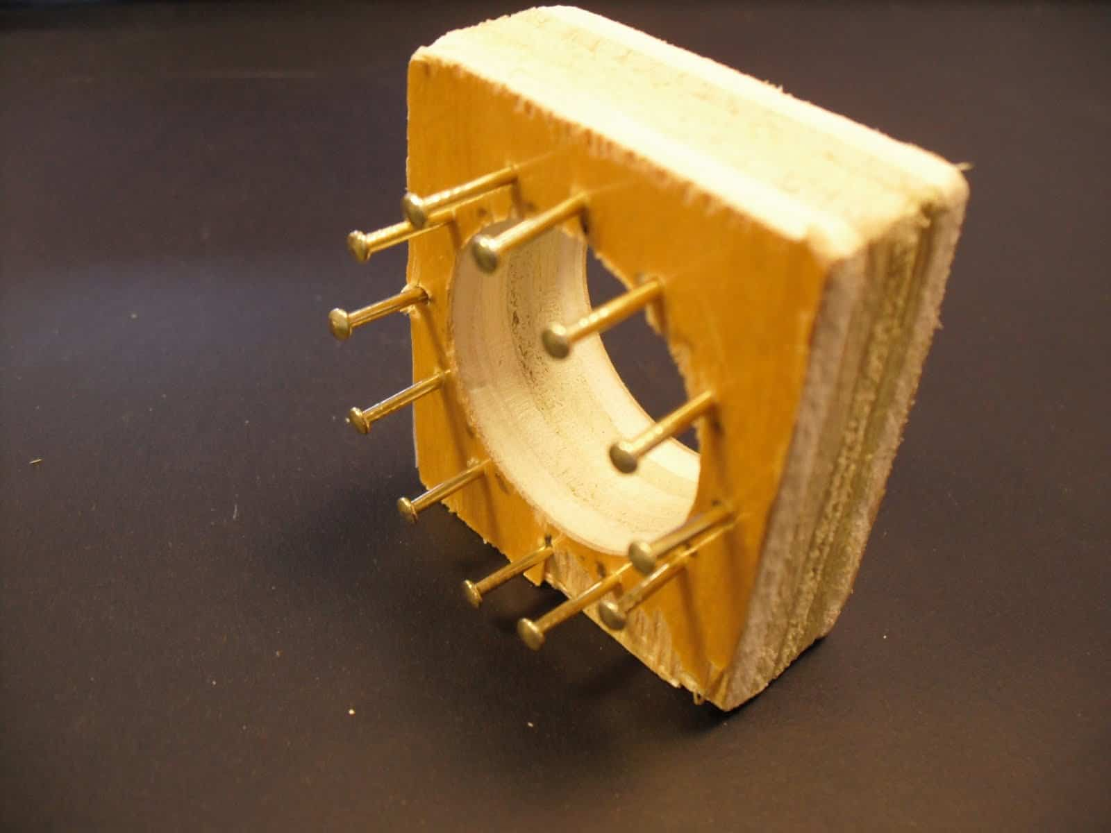 Recycled wood and nail spool knitter
