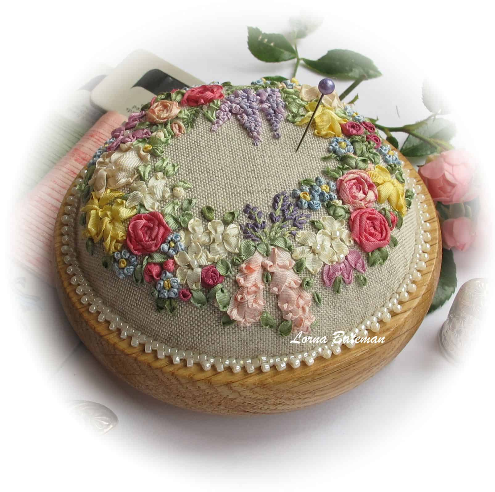 Ribbon embroidered and hand pearled pin cushion