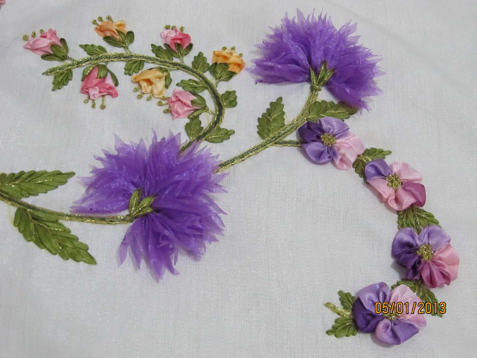 Ribbon embroidered flowers with chiffon petals