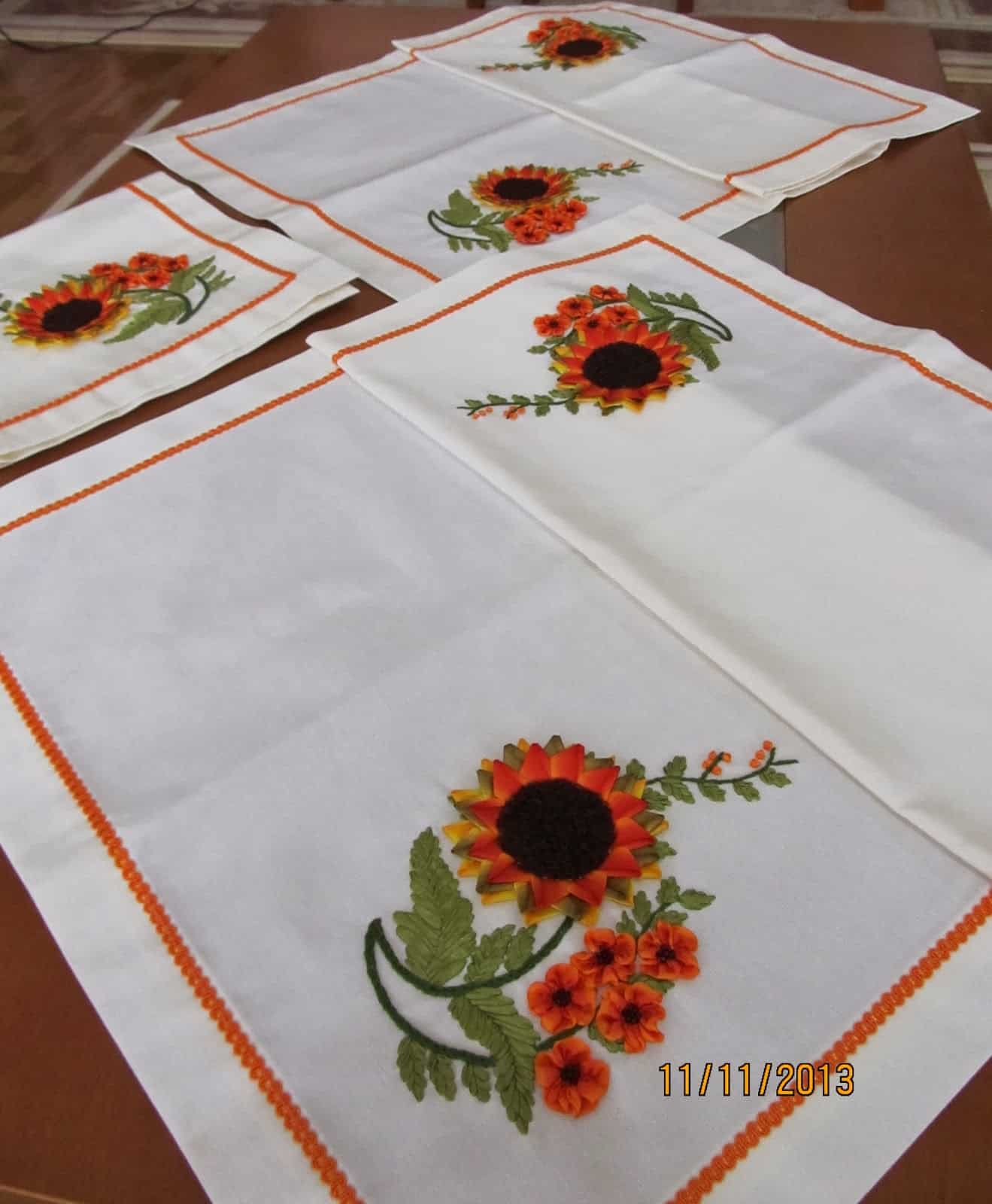 Ribbon embroidered handkerchiefs