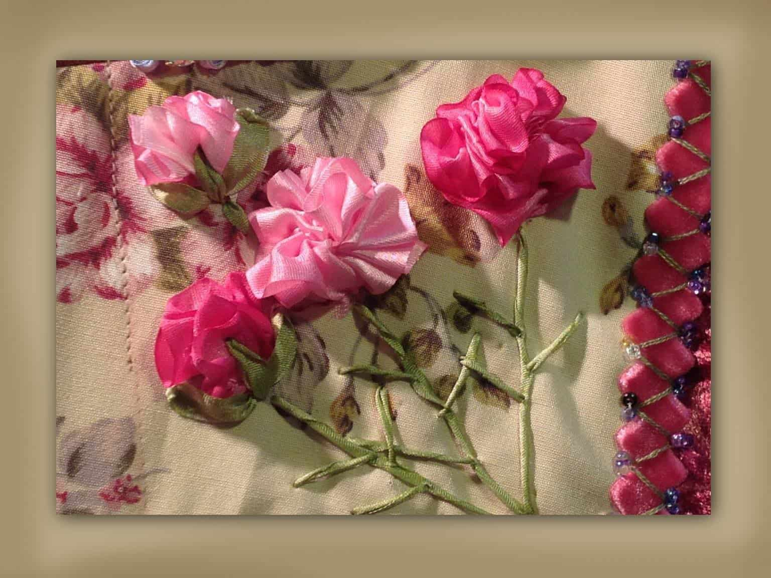 Ruffled roses with twisted ribbon stems