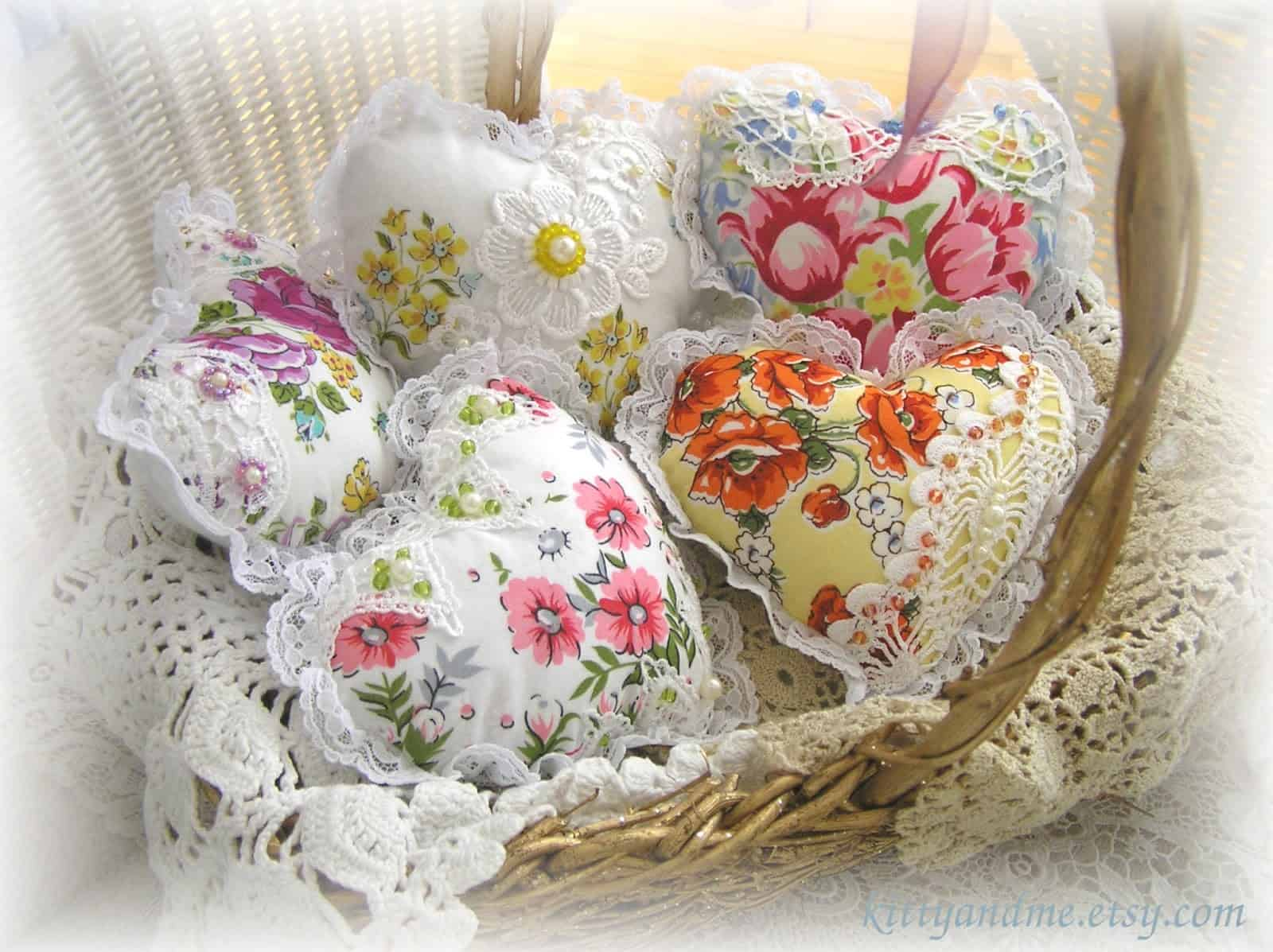 Scented bowl fillers made from handkerchiefs