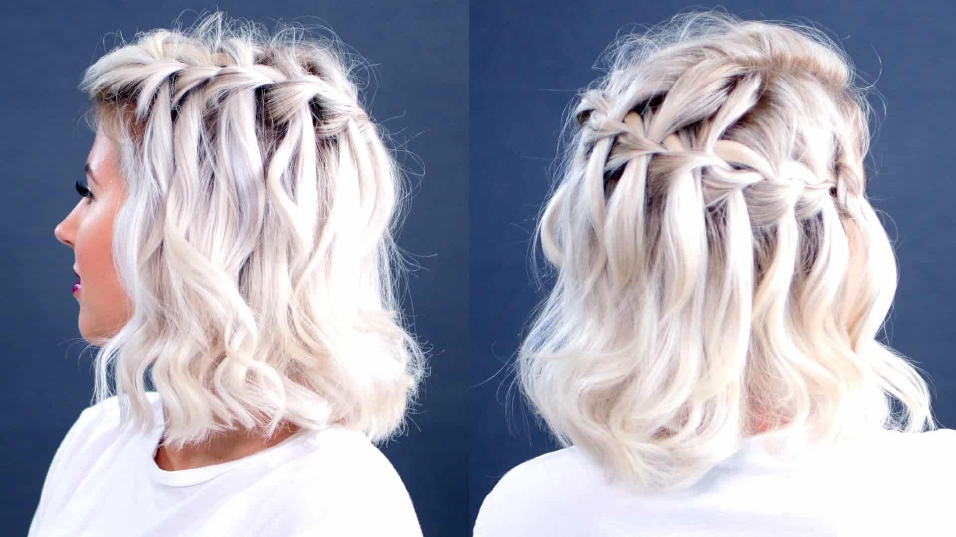 Short hair waterfall braid