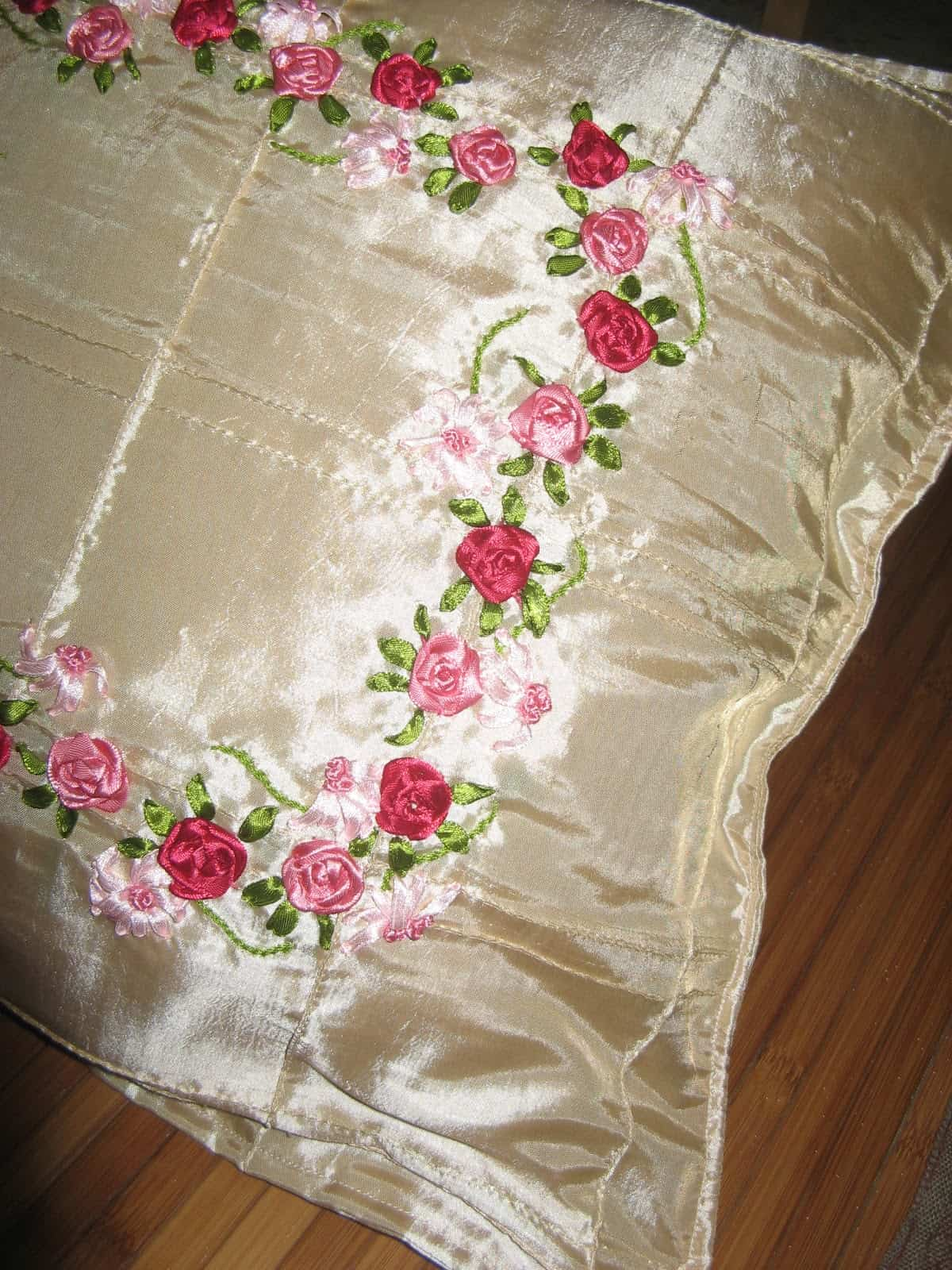 Silk and ribbon embroidered pillow cover