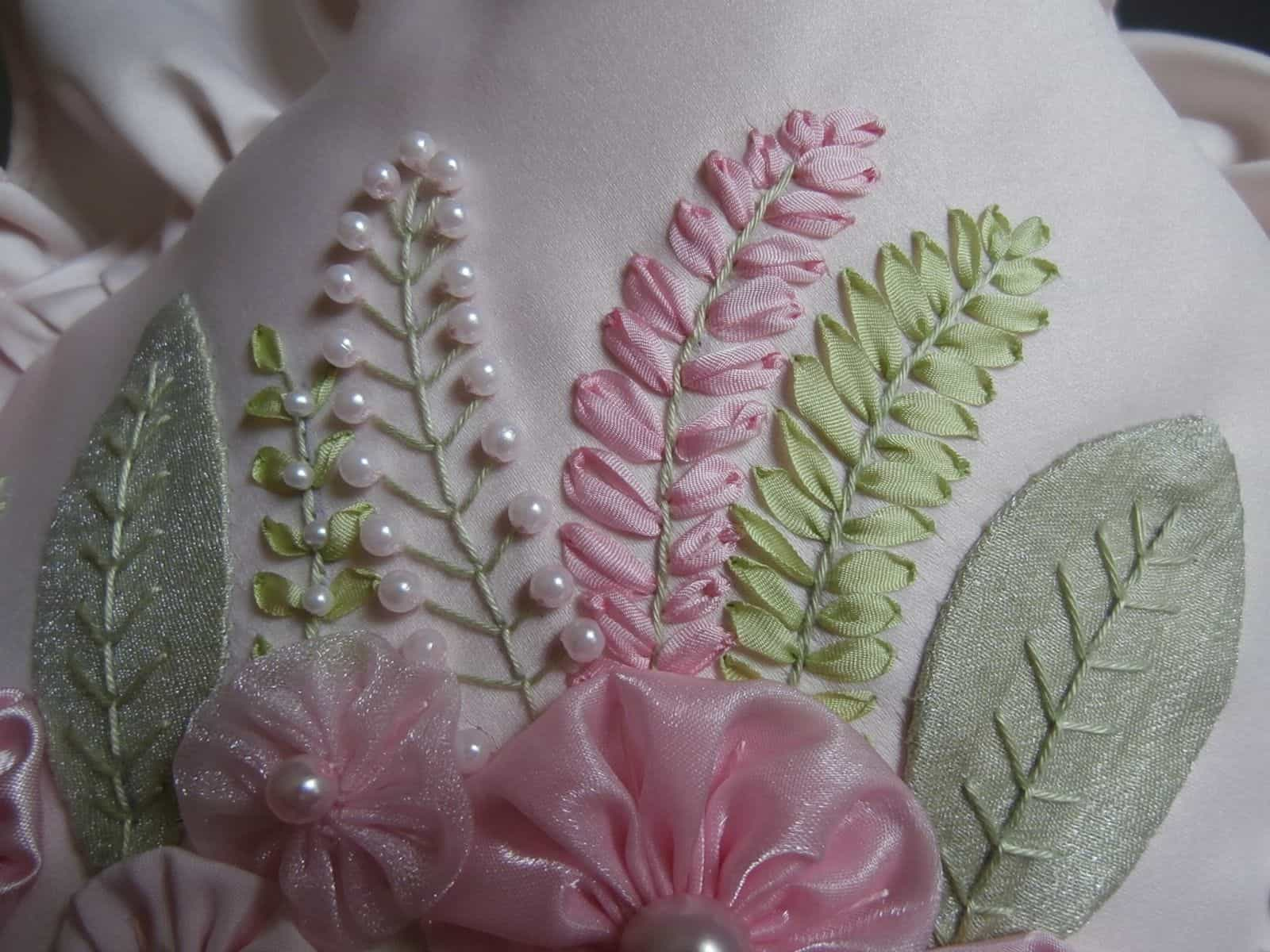 Silk ribbon embroiery with pearl bead detailing