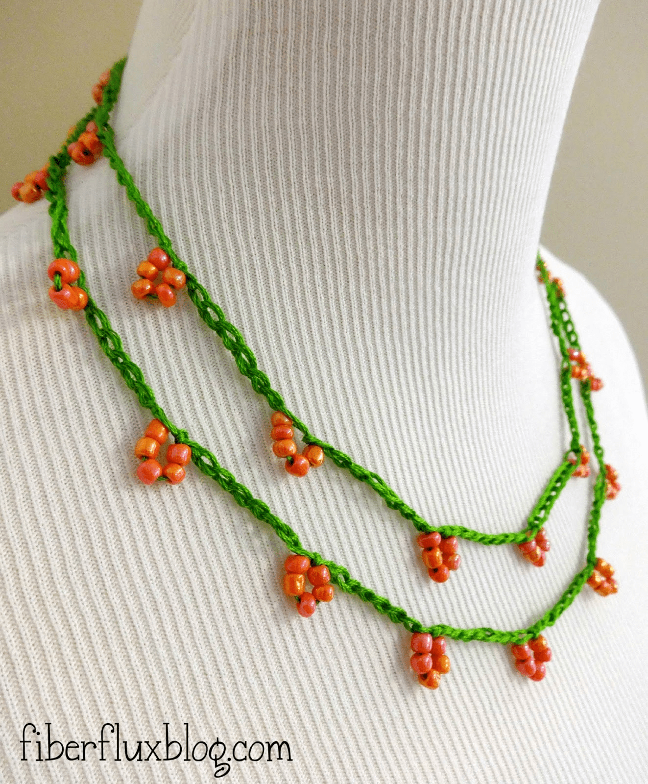 Skinny beaded blossom crocheted necklace