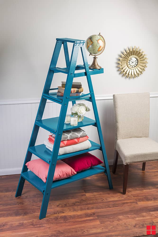 Spray painted ladder shelf