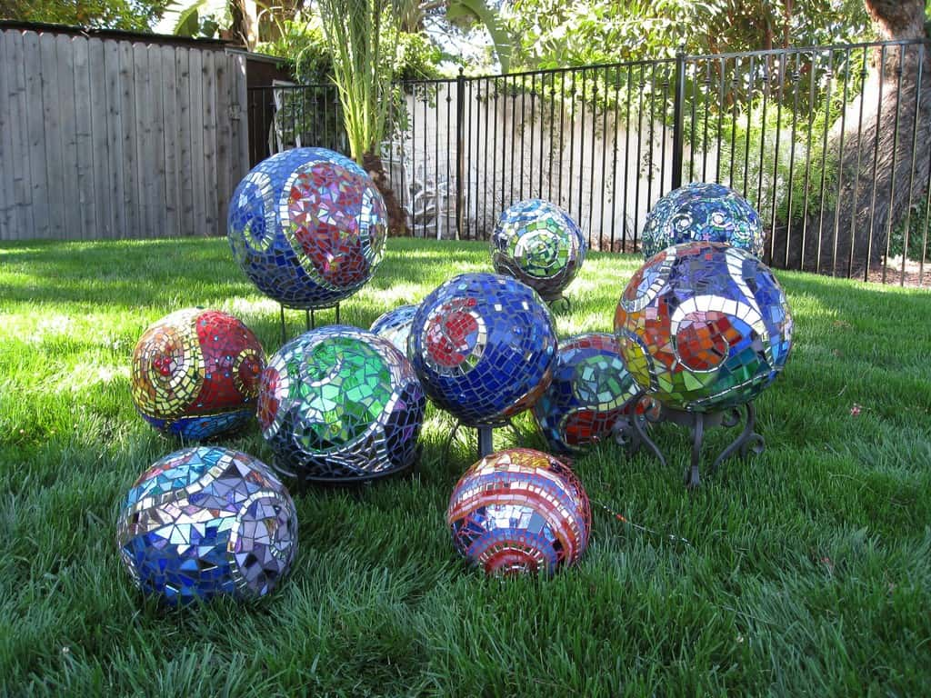 Stained glass mosaic spheres