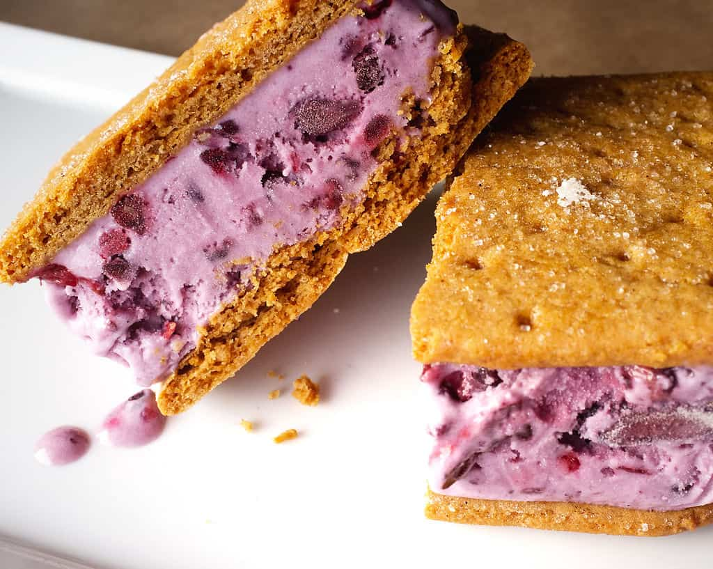 Sugar cookie and berry ice cream sandwiches