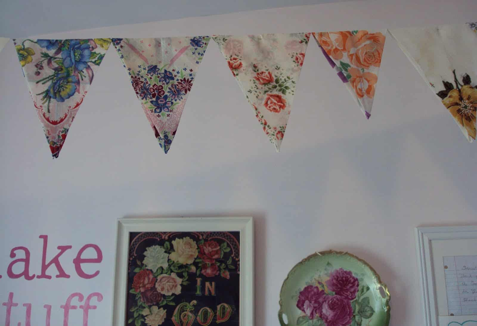 Upcycled handkerchief bunting