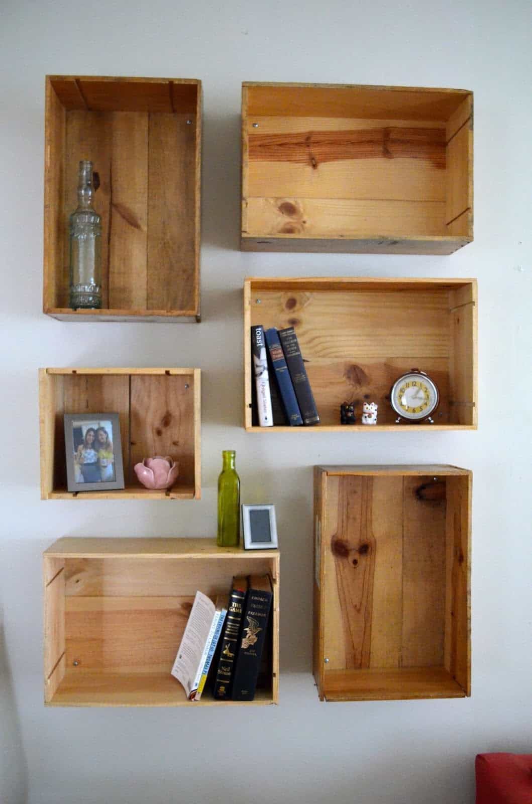 Wine crate box shelves