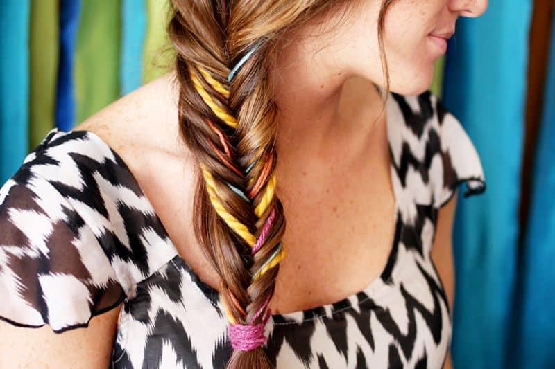 Yarn fishtail braid