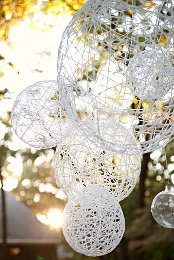 Yarn string chandeliers