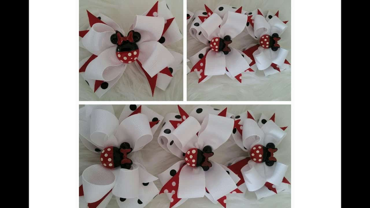 Adorable stacked Minnie Mouse bows