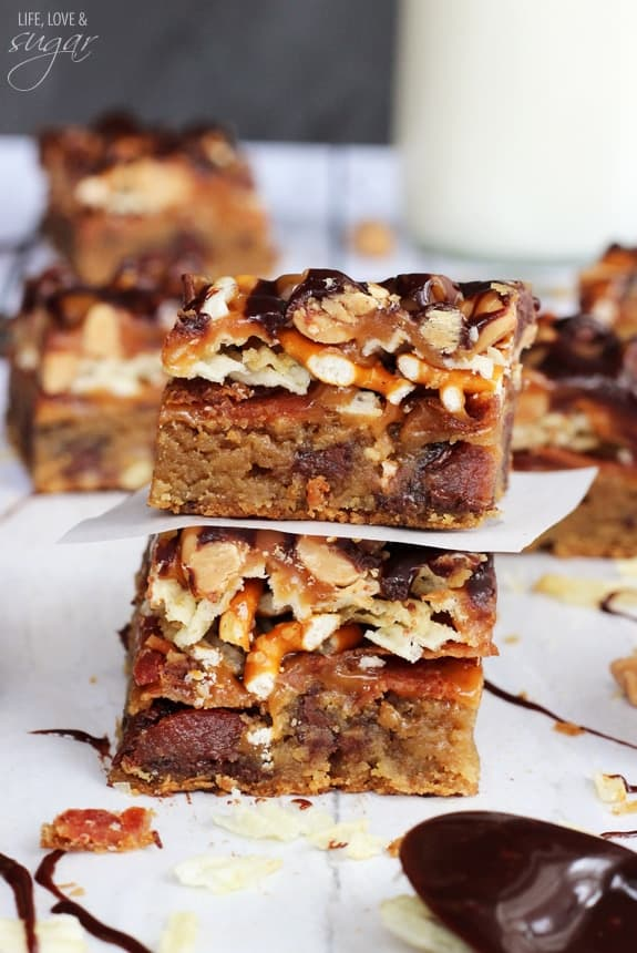 Bacon, beer, and potato chip cookie bars