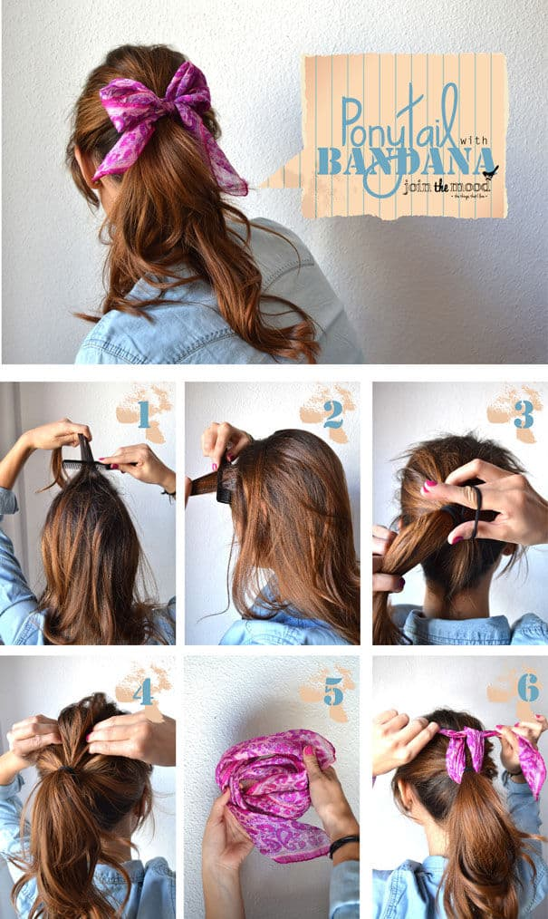 Beautiful bandana bow ponytail