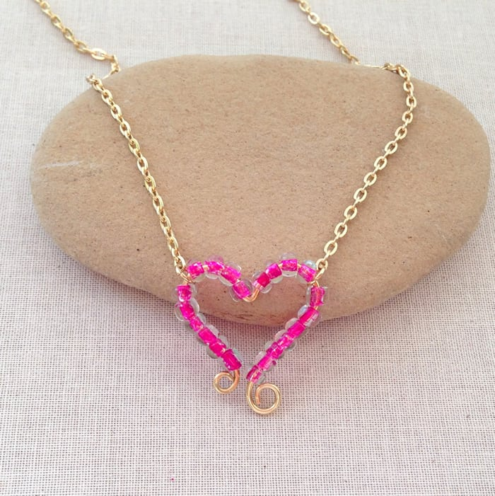 Bent wire and seed bead heart pendant