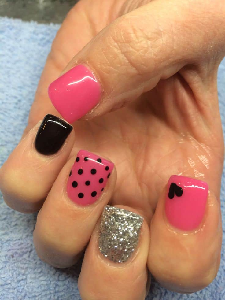 Black and pink with sparkles