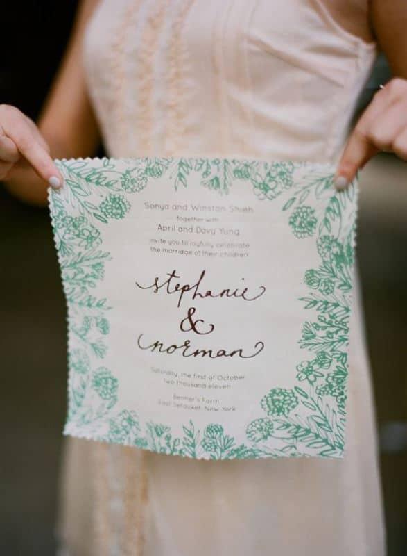 Botanical print hanky invitation