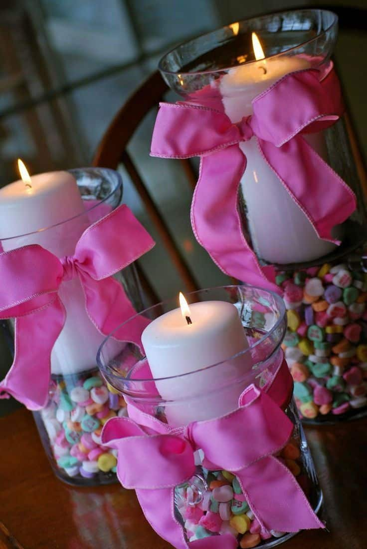 Candy heart candles