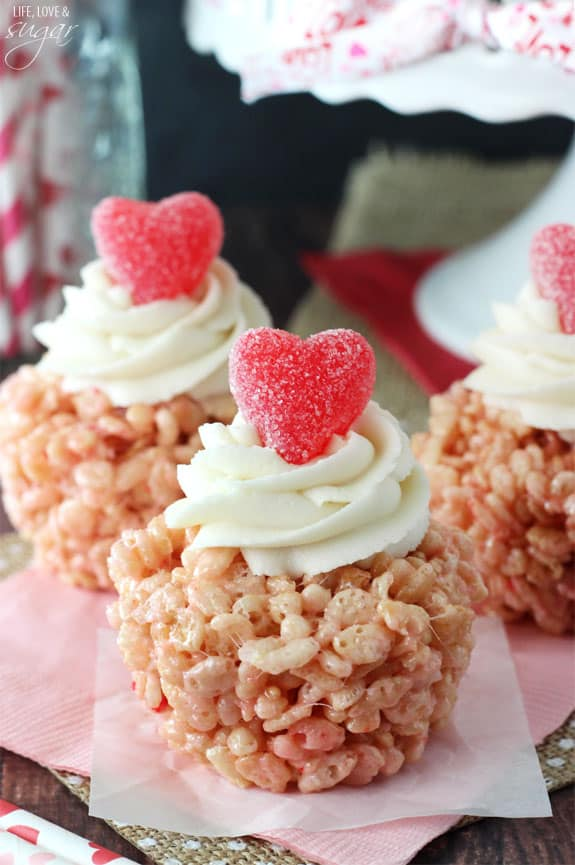 Candy topped rice krispy treat cupcakes