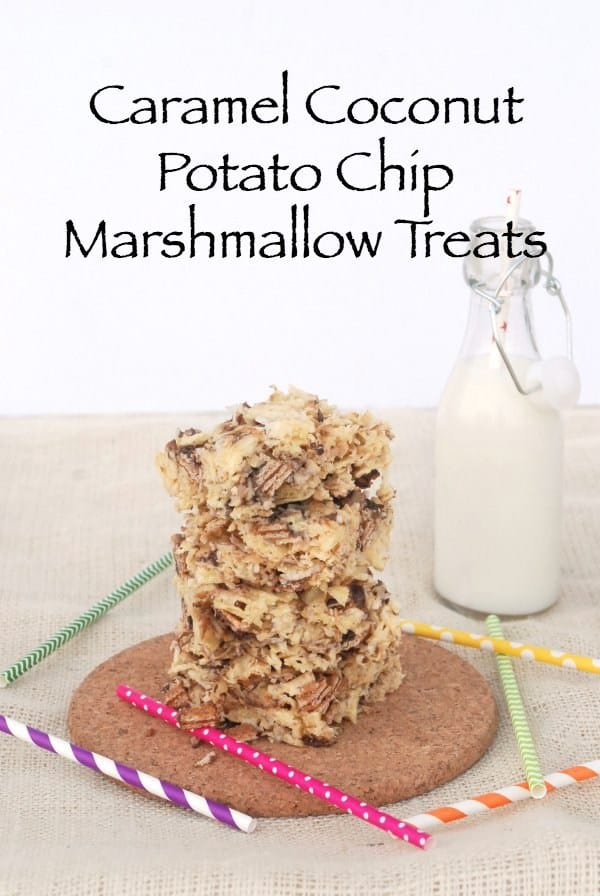Caramel, coconut, and potato chip marshmallow treats