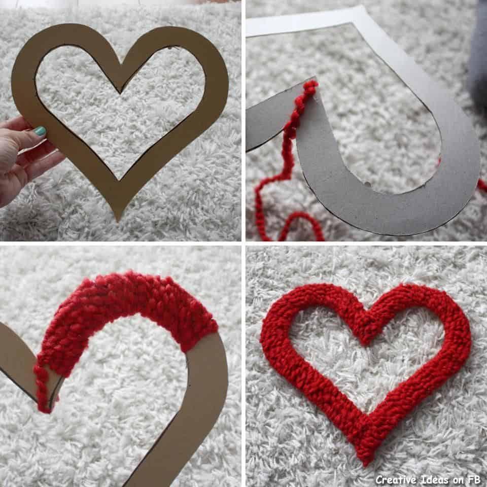 Cardboard and yarn wrapping hearts Adorable DIY Decor for Valentine's Day Parties