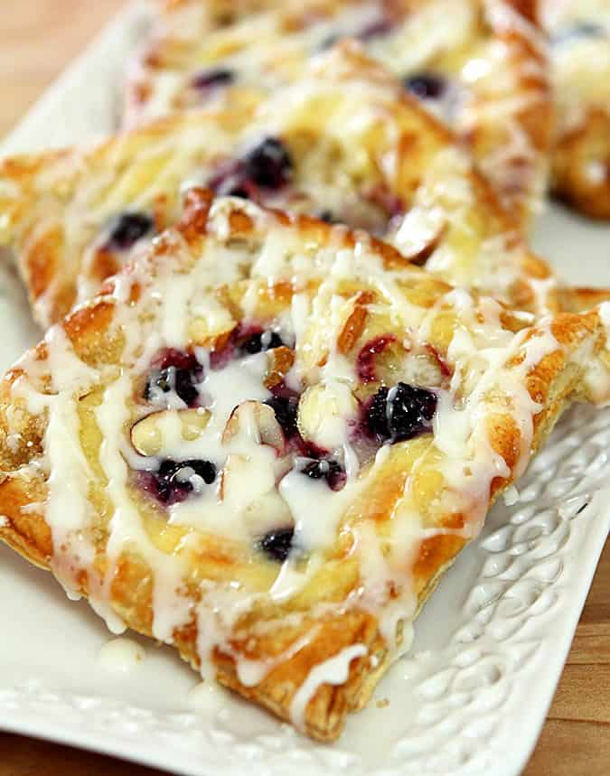 Cheese, blueberry, and almond danish
