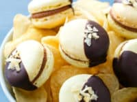 Chocolate covered potato chip macarons 200x150 Interesting Recipes Involving Potato Chips