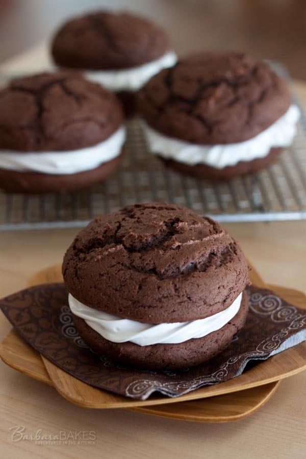 Chocolate eggnog whoopie pie