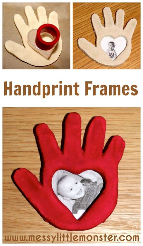 Clay handprint frames