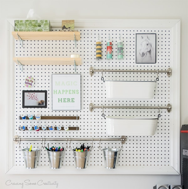 Craft supplies pegboard