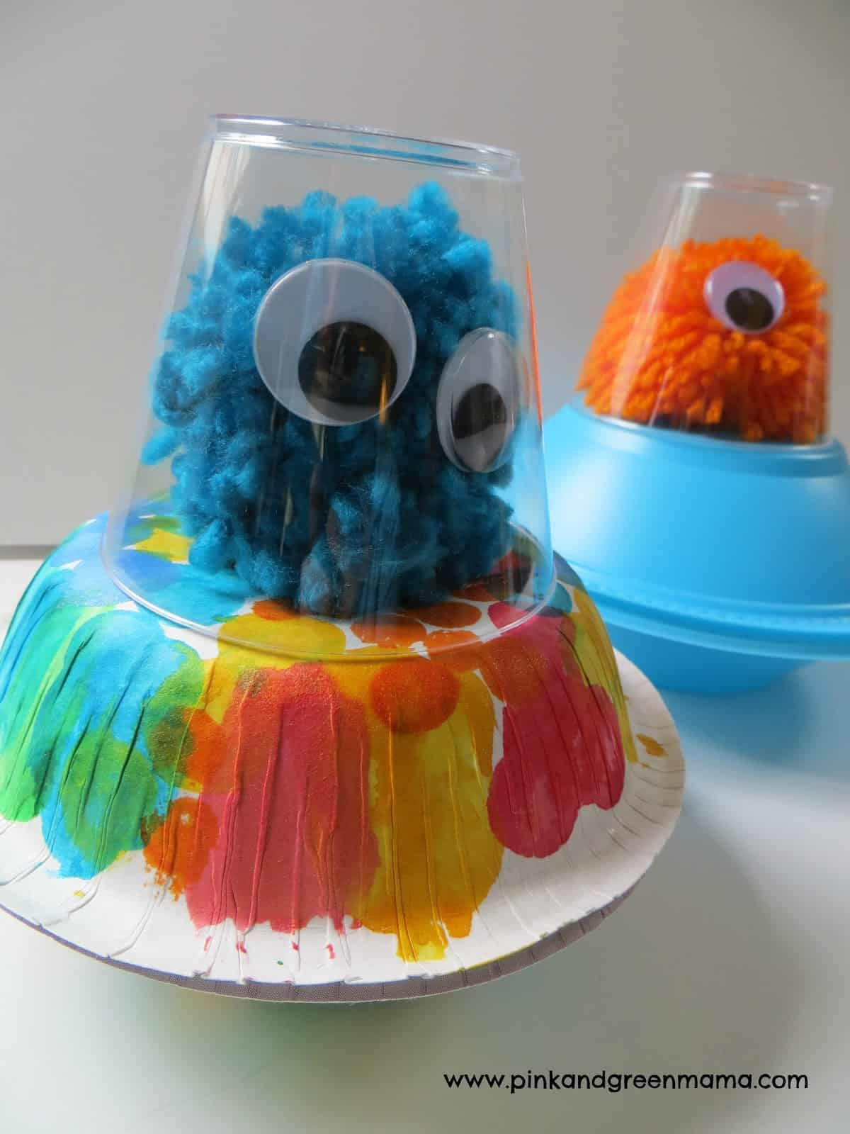 Cup, bowl, and pom pom alien spaceship craft