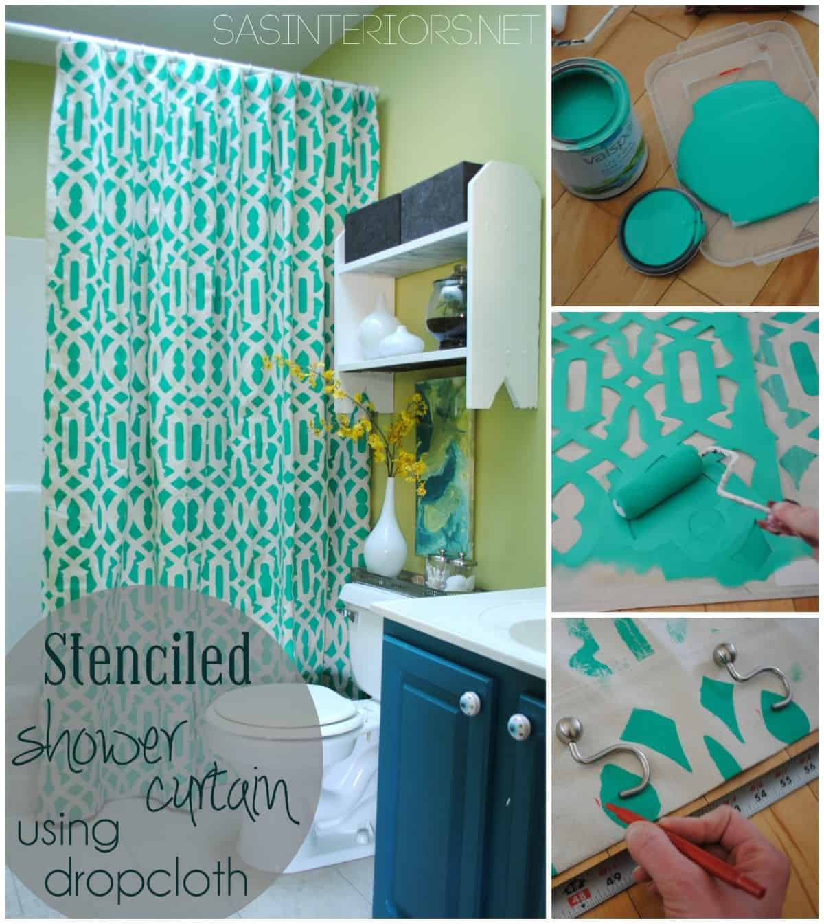 Custom stenciled shower curtain