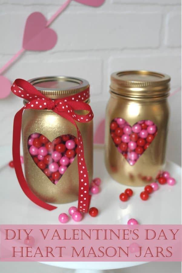DIY Valentine's Day heart mason jars