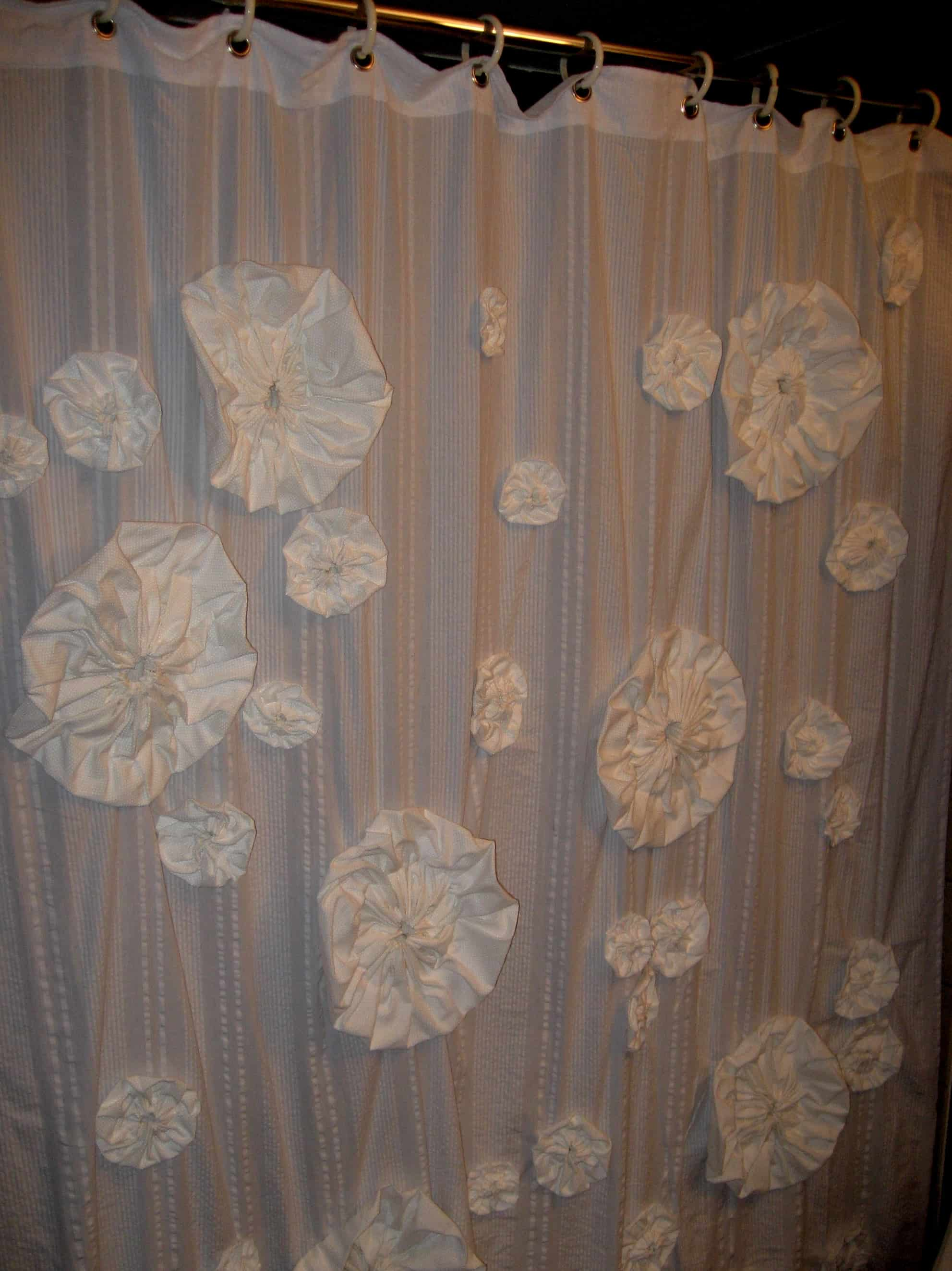 DIY Flower Pouf Shower Curtain