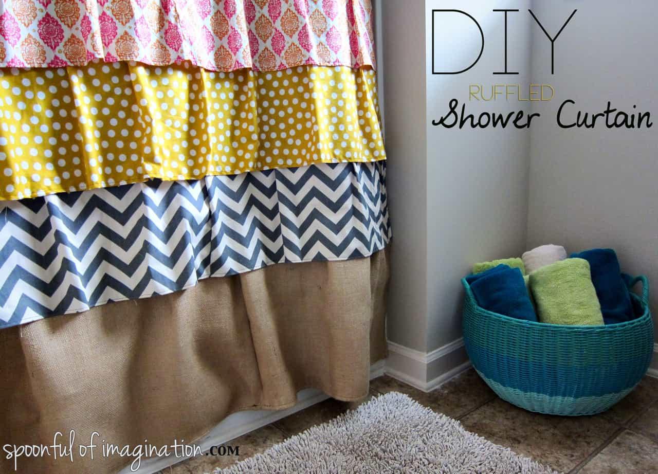 DIY multi-patterned ruffle shower curtain