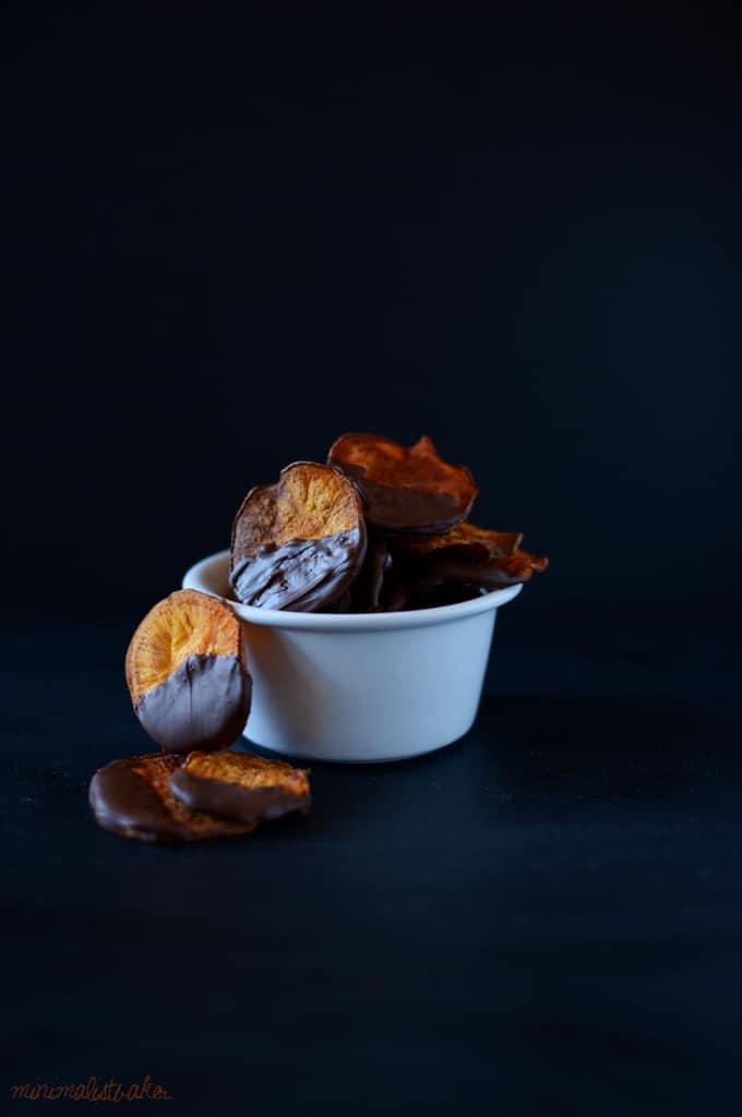 Dark chocolate sweet potato chips